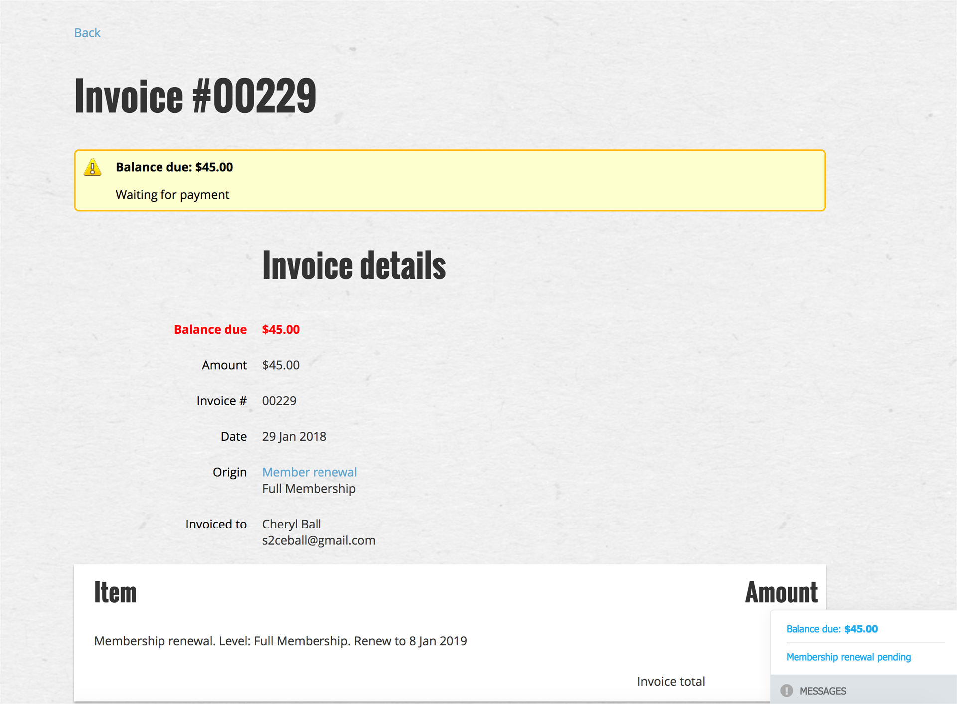 screen shot of CELJ membership invoice
